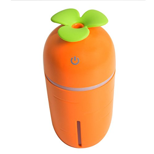 Ayaya Mini Humidifier 200ML Air Purifier Water Aroma Essential Oil Diffuser Cool Mist Humidifier USB Desktop Air Cleaner with LED Light Cute Carrot Orange Design for Home Office Study Yoga Spa