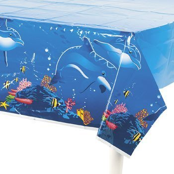 Fun Express Dolphin Table Cover Birthday Party Plastic Tablecover
