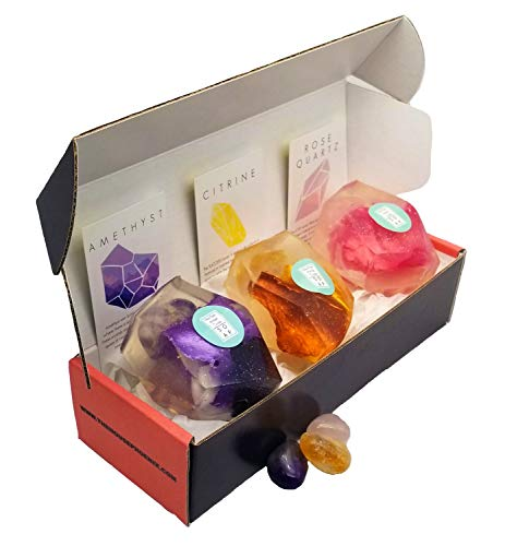 A Real Gemstone In Each Vegan Crystal Soap Citrine Amethyst Rose Quartz Birthday Gift Set of 3 4oz