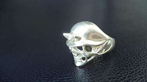 TOTENKOPF BIKER MENS RING 15gr Dead head Soldier Devil with Horns Death Cult Oclutistic Cult of Death Black Sterling Rider Silver 925 Gold ALL (Deaths Head Ring)