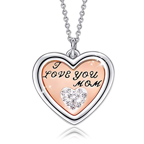 CDE Mothers Day Necklaces ''I Love You Mom Heart Pendant Necklace for Women, White Gold Plated Love Pendant Necklace Gift ()
