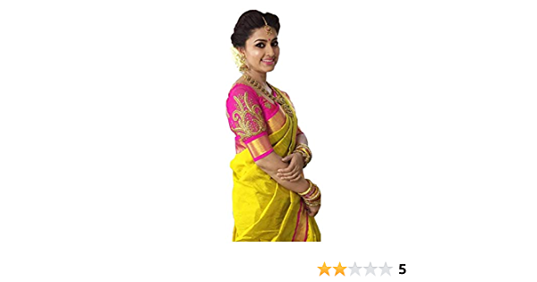 With blouse-T0x Details about  /AAENA Yellow Solid Chanderi Regular Saree With Blouse