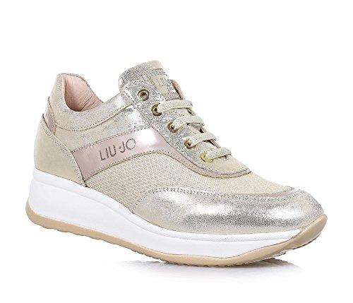 LIU JO - Chaussure à lacets dorée, en cuir et tissu, made in Italy, logo sur la languette et latéral, Fille, Filles, Femme, Femmes