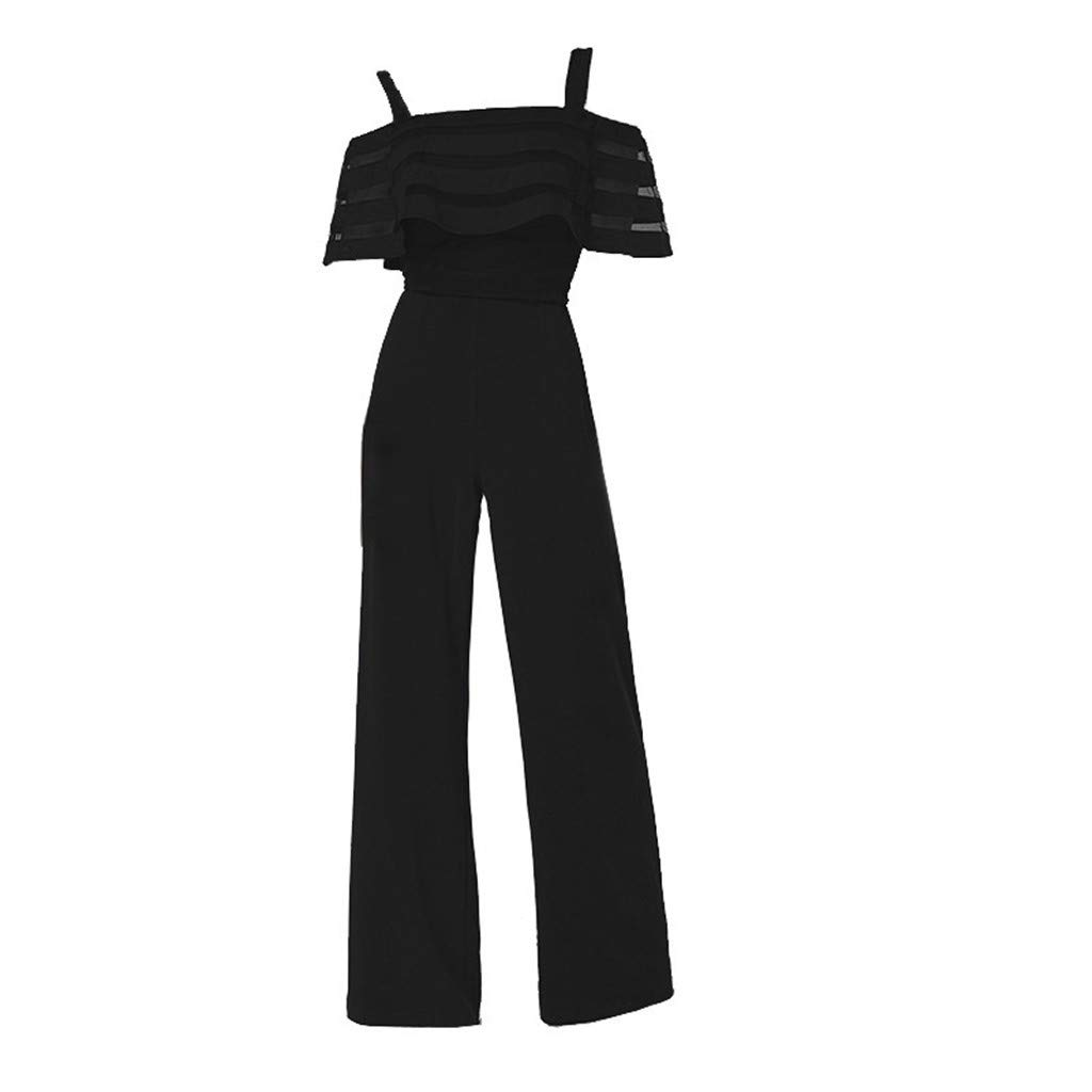 Womens Elegant Short Sleeve Spaghetti Strap Jumpsuit Rompers Lace Ruffle Edge Wide Leg Palazzo Cropped Pants Lightweight Breathable Summer Beach Wedding Playsuit Purple, S