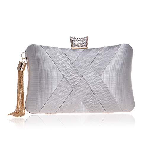 Tanpell Women's Evening Clutch Bags Silk Satin Party Handbags Bridal Wedding Purses with Tassel Pendant Silver