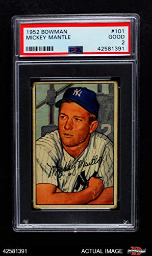 1952 Bowman # 101 Mickey Mantle New York Yankees (Baseball Card) PSA 2 - GOOD Yankees