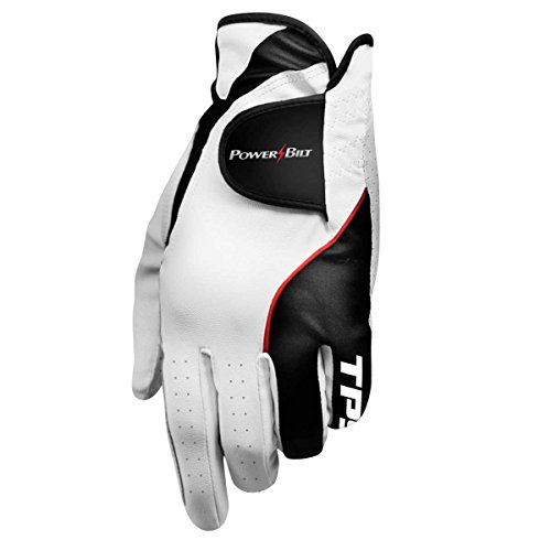 Powerbilt TPS Cabretta Tour Golf Glove - Mens RH Medium, White(Medium, Worn on Right Hand)