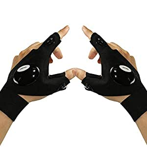TCBUYS LED Flashlight Gloves - Work Gloves with Lights and Fingerless Gloves with LED Lights for Mechanics, Electrical Work, Fishing, and Low Light Work (Pair of Left & Right Gloves)
