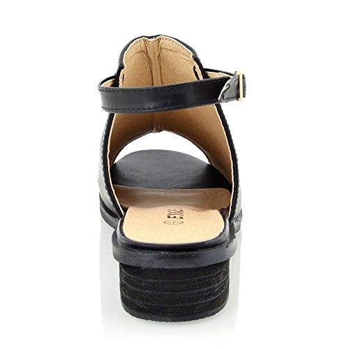 Pelle Nero Donna Essex Toe Sintetico Tacco Sandalo Sintetica Basso Peep Glam zzPOX