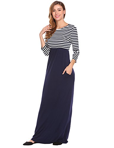 BLUETIME Womens Scoop Neck Striped 3/4 Sleeve Casual Maxi Dress with Pockets