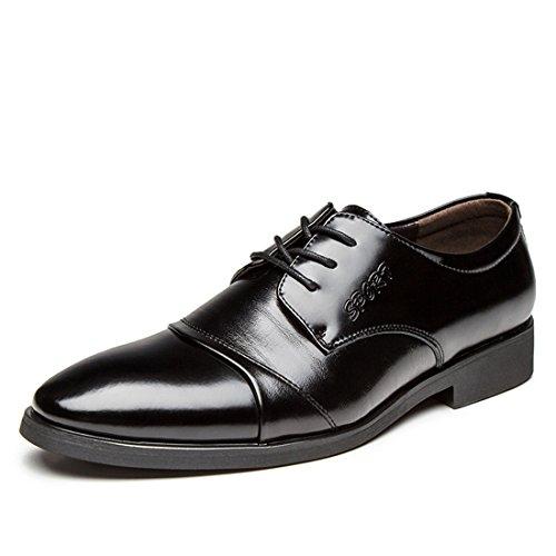 qianchuangyuan Chaussures de Ville pour Hommes Neuves Cuir PU à Lacets Bout D'Affaires Oxfords Chaussures Noir1 OW6oy6Re