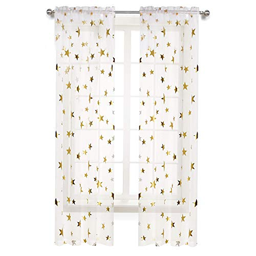 (Anjee Rod Pocket Gold Stars Sheer Curtains 84 inch for Bedroom Living Room Window Treatment Set White Curtains, 2 Panels Each is 54inches Wide by 84 inches Long )