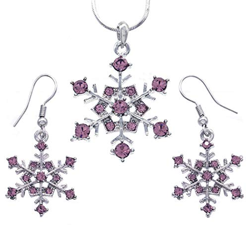 Soulbreezecollection Winter Snowflake Pendant Necklace Earrings Bridal Wedding Bridesmaid Prom Set (Purple)