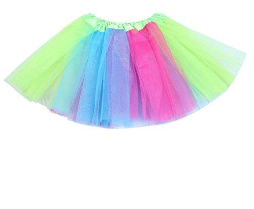 Anleolife 12 inch Tutu Rainbow Girls Toddler Skirt Tutus Cake Decor Fairy Costume(red blue green wispy) Child Tinkerbell Ballerina