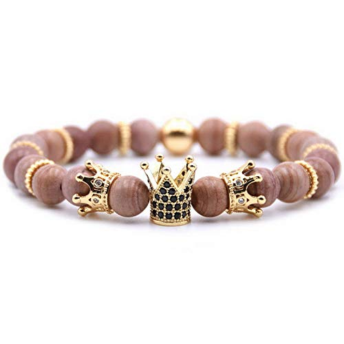 (Mikash Gorgeous Men Micro Pave CZ Crown Charm Bracelet Trend Matte Agate Bead Jewelry | Model BRCLT - 40030 |)