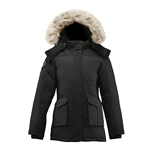 Triple F.A.T. Goose Madigan Womens Hooded Arctic Parka with Real Coyote Fur (Medium, Black) by Triple F.A.T. Goose