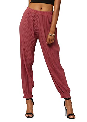 (Conceited Women's High Waisted Wide Leg Pleated Harem Pants with Cuff Detail- Cuffed Mulberry - One Size - 903-Mulberry-Reg)