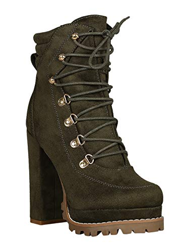 Women D-Ring Lace Up Lug Sole Chunky Platform Booties RB23 - Olive Faux Suede (Size: -