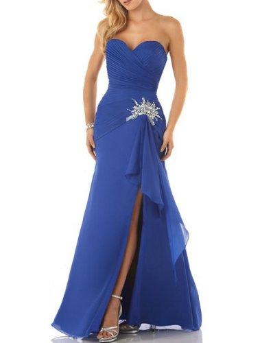 Kleid bodenlangen BRIDE Chiffon Blau Seitenschlitz Schatz GEORGE Party w1Y7Aw