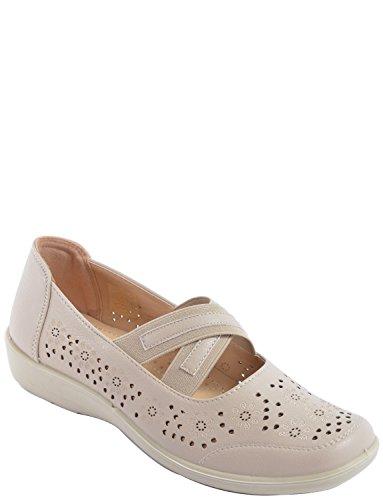 Femme Over Cross On Slip Chaussures Elastic Beige aw17Cq