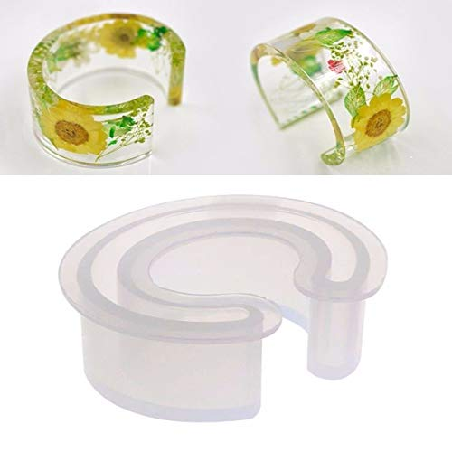 C Font Cuff Bracelet Silicone Bangle Mold Clear Round Bracelet Jewelry Casting Resin Mould ()