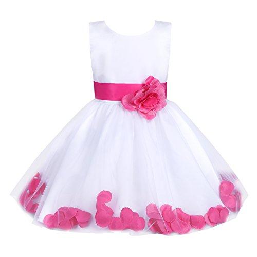 iEFiEL Girls Kids Wedding Party Darling Petals Bowknot Flower Dress Hot Pink 10 ()