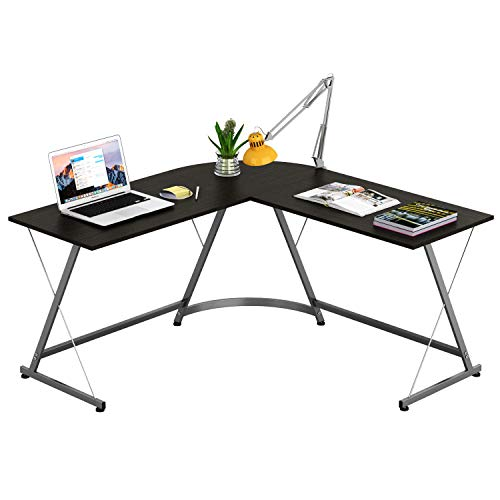 SHW L-Shape Corner Desk Computer Gaming Desk Table, Espresso