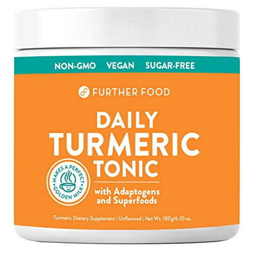 Daily Turmeric Tonic: Organic Turmeric + 7 Superfood & Adaptogen Antioxidant Golden Milk Blend; Makes a Perfect Turmeric Tea & Latte, Sugar-Free, Non-GMO, Vegan (6.35 oz.)