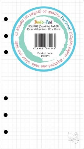 """25 Sheets Dodo Personal Squared/Clear 100gsm Clairfontaine-Style Rule Paper PPRPS: 171 x 95mm/6.73x3.74"""" Fits Filofax, Kikki K, Paperchase, Gillio ... Van der Spek (Standard) & Similar Organisers"""