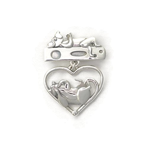 Bezel Diamond Brooch (Sterling Silver Cat Brooch with Diamond by Donna Pizarro fr her Animal Whimsey Collection of Fine Jewelry)
