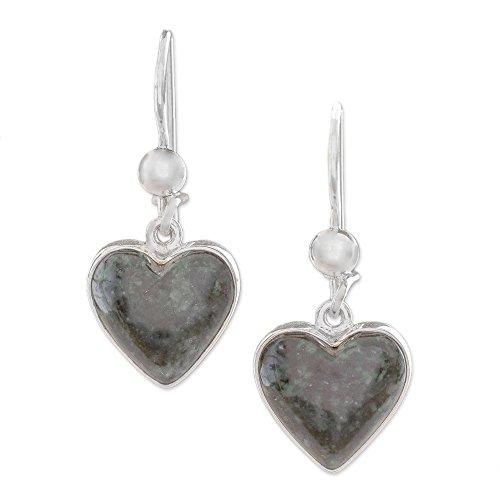 NOVICA Sterling Silver and Jade Heart Shaped Dangle Earrings, Wild Heart'