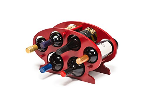 Castlencia Bamboo 6 Bottle Countertop/Table Top Wine Display Rack Storage Stand- Solid Wobble-Free - No Tool Assembly (Red)