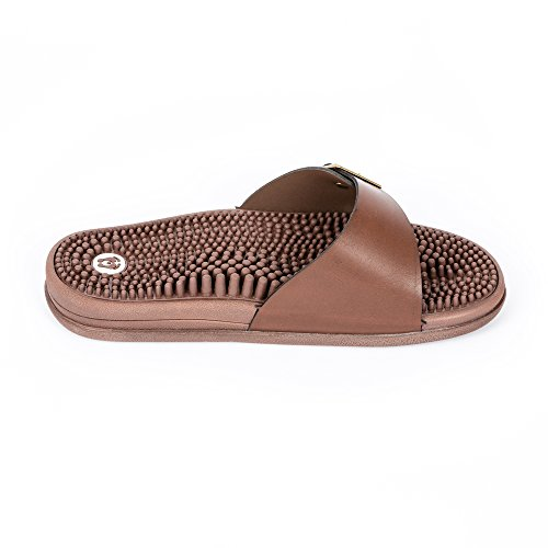 Revs ClassicBrown Reflexology Massage Sandals For Men & Women. Massaging & Stimulating Blood Flow through Your Feet. Shock Absorbing & Cushion Comfort Sole with Orthotic Arch Support.