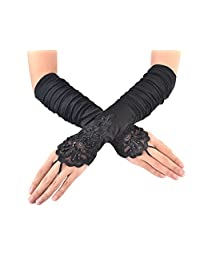 JISEN Ladies's Fingerless Long Lace Sequins Satin S06 Bridal Party Gloves 15