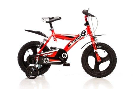 DINO-Sport-Bikes-143-GLN-14-pulgadas-Bicicleta-de-nio-Kidsbike-bicicleta-bicicleta-del-nio-la-bici-velocpedo-bicicleta-ciclismo-Roja-estabilizadores-guardabarros--14-pulgadas-3-6-aos-100-120-cm-47-55c