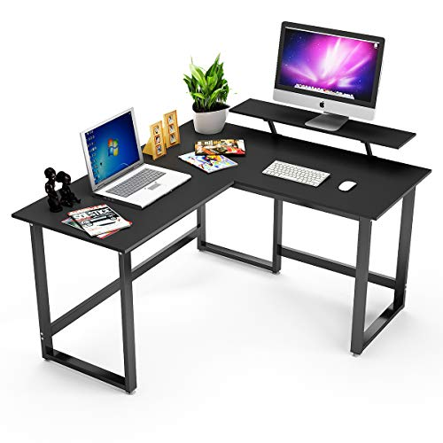 L Shaped Desk Corner Computer Desk with Stand DEWEL PC Laptop Table Workstation for Home Office