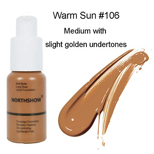 Matte Flawless Foundation Oil Control Full coverage Foundation Cream, Long Lasting Waterproof Liquid Concealer for Women Girls, 106 Warm Sun-30ml
