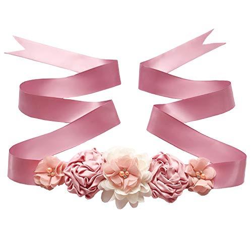 Maternity Sash Belt with Flower, Floral Baby Shower Belly Sash, Flower Girl Sash, Pregnancy Sash Belt for Photography (B-shell & snow) ()