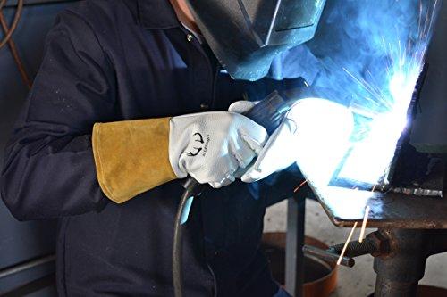 (12 PAIRS) Weldas DEERSOsoft Pearl Grain Deerskin, 4'' Cowhide Cuff - Welding MIG/TIG Gloves - Kevlar Sewn - Size L by Weldas (Image #4)