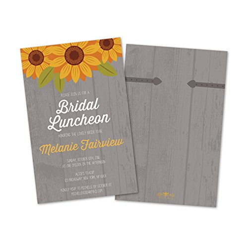 Bridal Luncheon Invitations (Set of 10 Country Sunflower Personalized Bridal Luncheon Invitations)