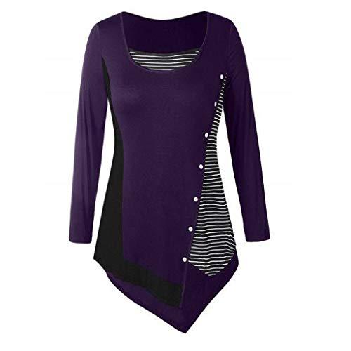 FarJing Women Tops Long Sleeve Plus Size Splicing Stripe Button Irregularity Top Blouse T-Shirt(XL,Purple -