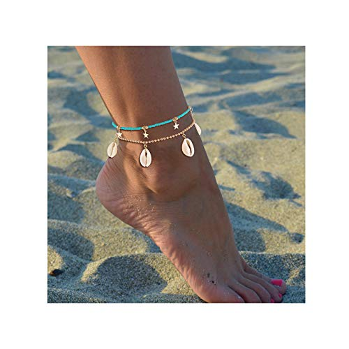 JYM JEWELRY Anklets for Women Boho Conch Cowrie Shell Anklet Gold Star Ankle Bracelet Woven Beaded Ankle Chain Hippy Surf Foot Jewellery
