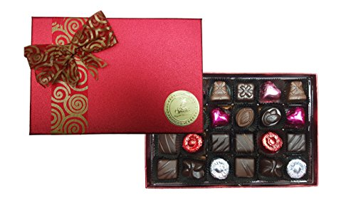 Sjaaks 24 Piece Organic Vegan European Assorted Chocolate, Valentine's Day Gift Box, 12.5oz