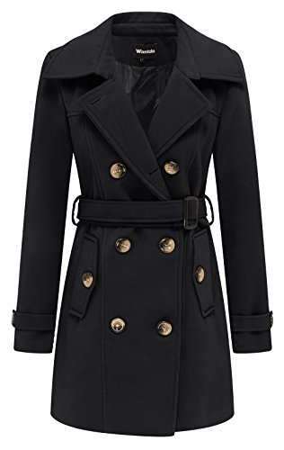 Double Breasted Belt - Wantdo Women's Double Breasted Pea Coat with Belt US X-Large Black