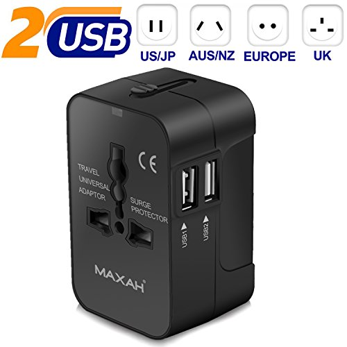 MAXAH Universal Travel Plug Adapter, All in One Worldwide Universal Wall Charger AC Power Plug with 2.1A Dual USB Charging Ports for EU US UK AU - Black