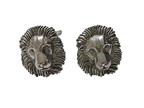 Kiola Designs Silver Toned Textured Lion Head Pendant Cufflinks