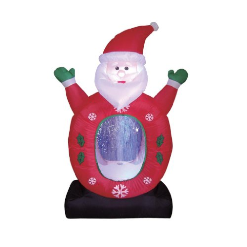 Santa Claus Lawn Decorations: 4 Foot Christmas Inflatable Santa Claus Snowflake Snow