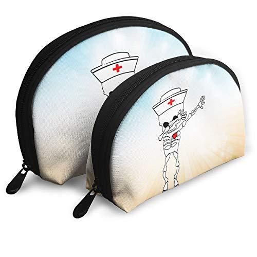 Dabbing Skeleton Nurse Cosmetic Bags Toiletry Bag Women Girl's Half Moon Travel Storage Bag