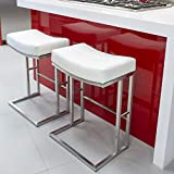 MIX Brushed Stainless Steel Faux Leather White 26-inch Seat Height Stationary Saddle Bar Stool For Sale