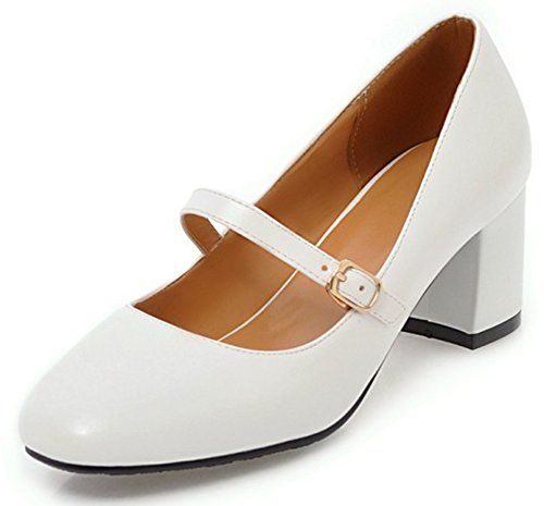 Idifu Womens Elegante Buckled Mid Chunky Heeled Square Toe Mary-jane Shoes White